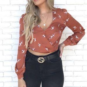 Rust bird blouse